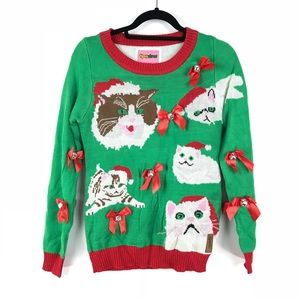 Tipsy Elves Sz S Not So Ugly Cat Christmas Sweater